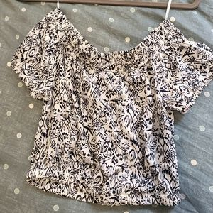 Tops - Off the shoulder Blue & White Print Crop Top BNWOT